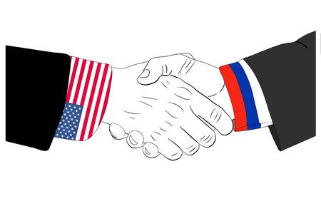Handdruk van de Russische en Amerikaanse handen Stock Illustratie