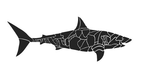 white shark: The split white shark silhouette