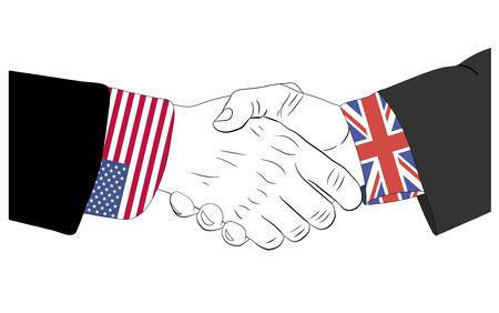 미국과 영국 손의 악수