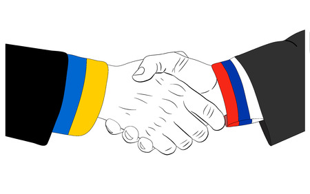 consent: Handshake of the russian and ukrainian hands Illustration