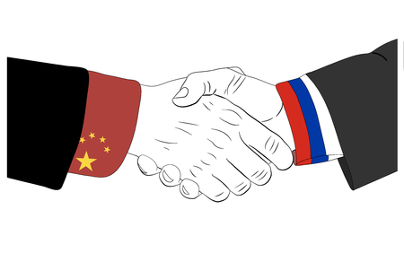 consent: Handshake of the russian and chinese hands