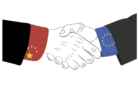 consent: Handshake of the chinese and european hands