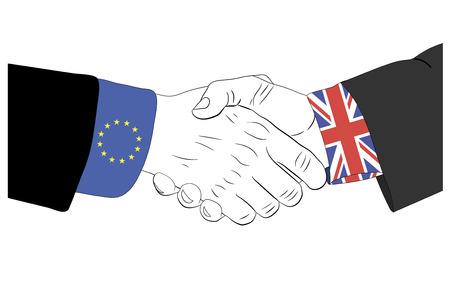 Handshake of the european and british hands