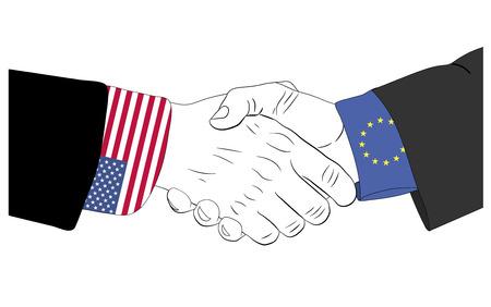 Handdruk van de Europese en Amerikaanse handen