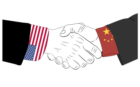 Handdruk van de Chinese en Amerikaanse handen