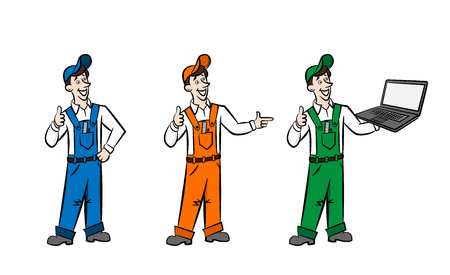 boilersuit: Advertasing men in boilersuit are showing advantages of your goods and services. They can be coloured as you need. Illustration