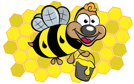 Funny bee with bucket full of honey on honeycomb. Separate layers. You can switch off honeycomb.