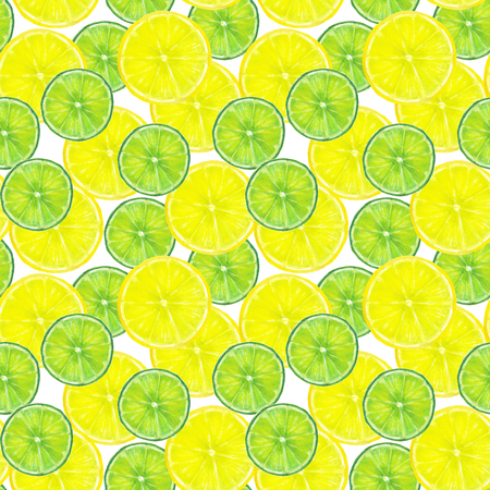 Watercolor seamless pattern with slices of lemon and lime on whi