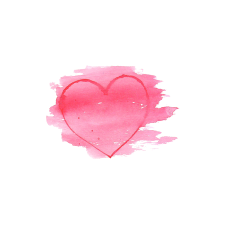 Watercolor heart on white background . Sketch style icon. Water