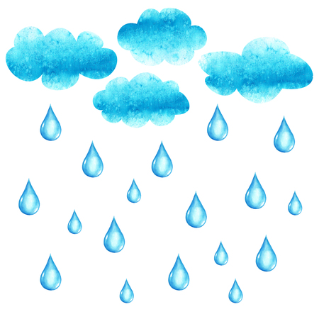 Watercolor hand drawn illustration with cluods and rain drops Stock Photo
