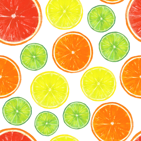 Watercolor seamless citrus pattern