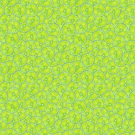 Watercolor seamless lime fruits slices pattern