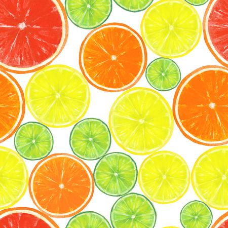 Watercolor citrus fruits seamless pattern