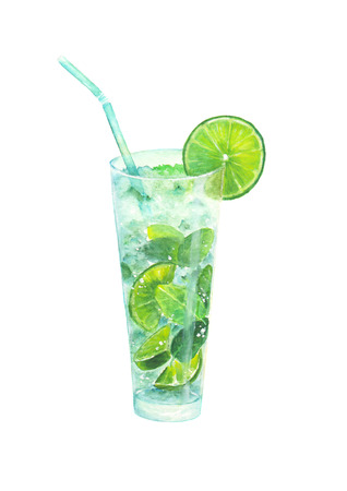 Watercolor hand drawn classical mojito cocktail, isolated on white background