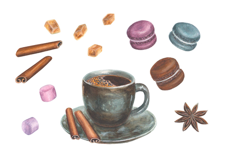 Watercolor hand drawn illustration with coffee design elements - a cup of coffee, cinnamon, anise, macaroons, marshmallow and sugar crystals, isolated on a white background.  Illustration