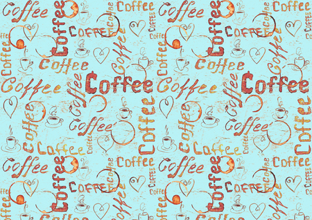 Sketch turquoise coffee background with lettering, hearts, coffee cups and cups traces. Sketch style Stock Photo
