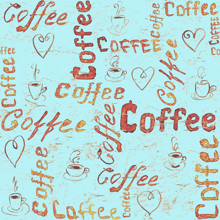 Turquoise seamless coffee pattern with lettering, hearts and coffee cups. Sketch style
