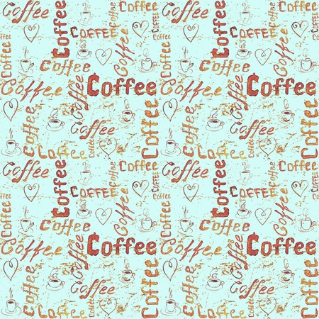 Seamless coffee pattern with lettering, hearts and coffee cups on turquoise vintage paper background. Sketch style