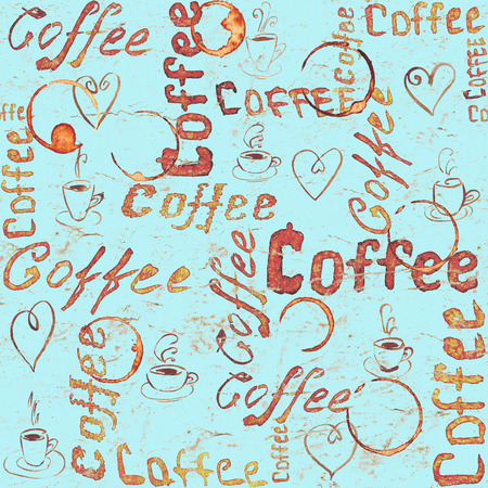 Seamless coffee pattern with lettering, hearts, coffee cups and cups traces on turquoise vintage paper background. Sketch style Stock Photo