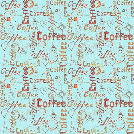 Turquoise coffee seamless pattern with lettering, hearts, coffee cups and cups traces. Sketch style Stock Photo