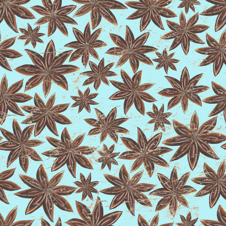 Watercolor hand drawn seamless pattern with anise star spices on turquoise vintage paper background