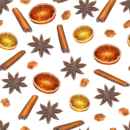 Christmas seamless pattern with anise stars, cinnamon sticks, sugar cubes and citrus slices on white background