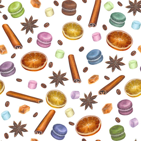 Christmas colorful seamless pattern with watercolor hand drawn anise stars, cinnamon sticks, sugar cubes, citrus slices, macarons, marshmallow and coffee beans on white background Stock Photo