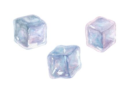 白い背景に分離された 3 つの水彩手描きアイス キューブのセット