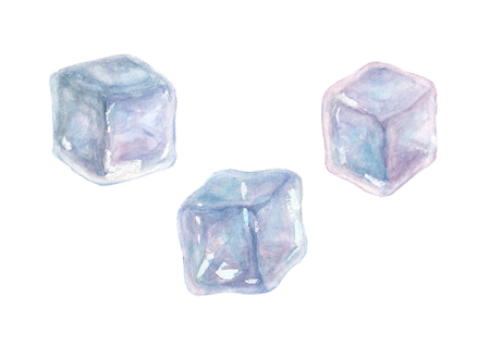 Set of three watercolor hand drawn ice cubes isolated on white background