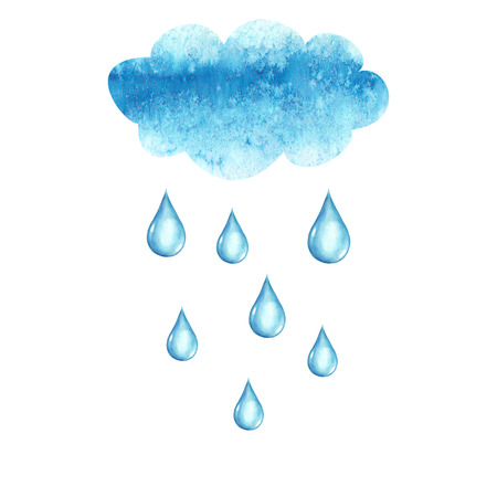 Watercolor hand drawn cloud and rain drops, isolated on white background Ilustração