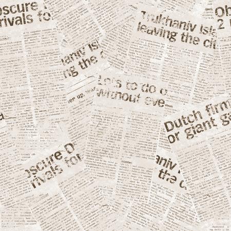 Vintage seamless newspaper pattern. Aged newspaper background