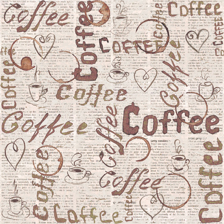 Sketch old newspaper coffee background with lettering, hearts, coffee cups and cups traces. Seamless pattern