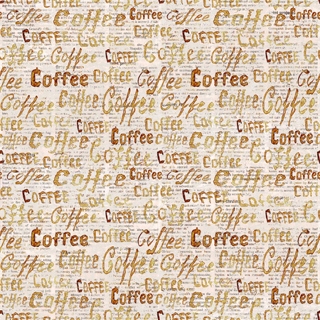 Sketch old newspaper background with coffee lettering. Seamless pattern