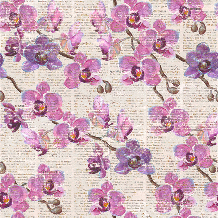 Vintage seamless watercolor hand drawn orchid flowers pattern on newspaper background
