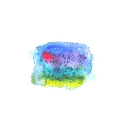 rainbow: Watercolor hand drawn colorful rainbow stain. Abstract space
