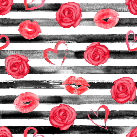 hand print: Watercolor hand drawn seamless pattern with black stripes, red roses, hearts and lips kisses. Watercolor white and black background. Stock Photo
