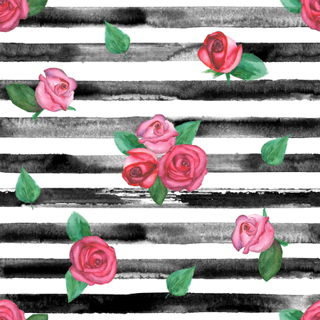 Watercolor hand drawn seamless pattern with black stripes and roses. Watercolor white and black background.