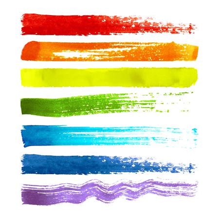 흰색 배경에 고립 된 다채로운 질감 된 수채화 브러쉬 스트로크의 집합입니다. 레인보우 배경