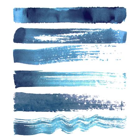 Reeks blauwe de borstelslagen van de marine geweven die waterverf op witte achtergrond worden geïsoleerd Stock Illustratie