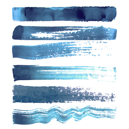 Set of blue navy textured watercolor brush strokes isolated on white background Иллюстрация