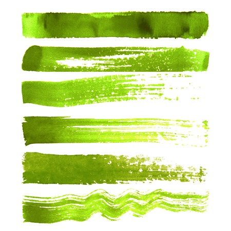 Set of green textured watercolor brush strokes isolated on white background Çizim
