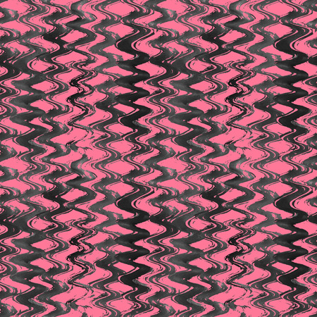 pink and black: Watercolor hand drawn wavy striped seamless pattern. Grunge black and pink watercolor background. Stock Photo