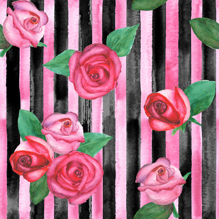 Watercolor hand drawn vertical seamless pattern with pink and black stripes and red and pink roses. Fashion, bed linen, fabric and wrapping concepts.