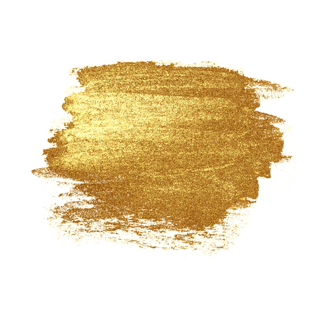 bright: Abstract hand drawn luxury golden stain, isolated on white background. Gold metal texture. Concept of Wedding, Holiday, Birthday, Christmas. Stock Photo