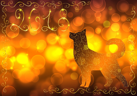 Gold background with a dog, the number 2018 and bokeh effect. Concept New Year and Christmas 2018. For greeting cards, flyers and invitations. Stock Photo