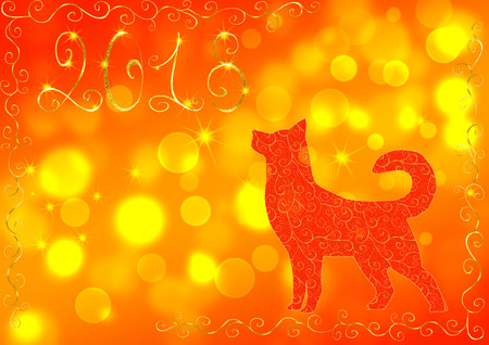 Red and yellow New Year background with a dog, the number 2018 and bokeh effect. Concept New Year and Christmas 2018. For greeting cards, flyers and invitations.