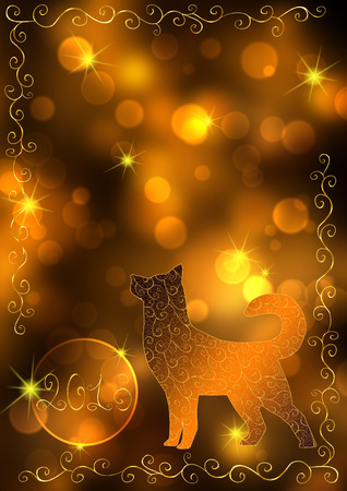 Gold New Year bokeh background with a dog and the number 2018. Concept New Year and Christmas 2018. For greeting cards, flyers and invitations.