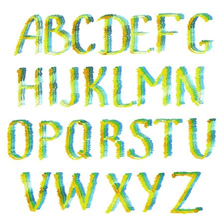 Buntes Alphabet. Gezeichnete Türkis-, Grüne, Gelbe und Blaueenglische Alphabetbuchstaben des Aquarells Hand lokalisiert auf weißem Hintergrund. Vektorgrafik