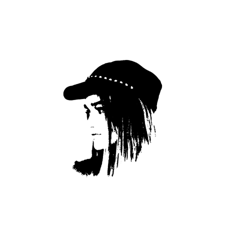 Black and white portrait of young girl with kepi and with long hair. Young girl beautiful graffiti stencil face. Graffiti stencil face. Stencil art.