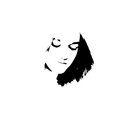Black and white portrait of young girl. Young girl beautiful graffiti stencil face. Graffiti stencil face. Stencil art.